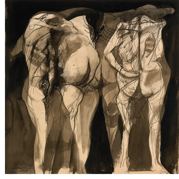 "Rico Lebrun, Untitled (Three figures), 1960, ink wash on paper. 18 × 18½"". Private collection."