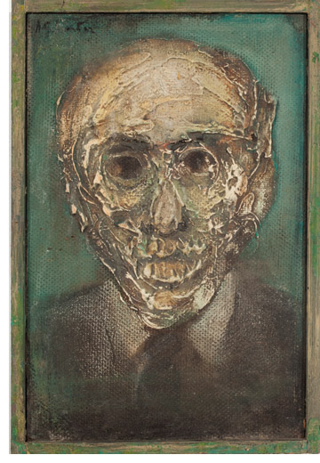 "Henry Schwartz, Schoenberg Decomposes, 1962, acrylic paste and oil on board, 12 x 8"". Photo: Bill Kipp. Courtesy of Gallery NAGA."
