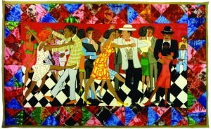 Faith Ringgold, Groovin High, 1996, Silkscreen, Courtesy of ACA Galleries, New York. At Mattatuck Museum.