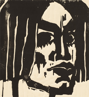 "Emil Nolde, Head of a Woman III, 1912, woodcut on cream wove paper, 113⁄8 x 9""."