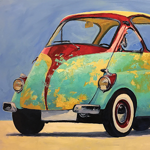 Brian Reardon 1955 Iso Isetta Sky 2017 Oil On Canvas 24 X 36 At Atlantic Works Gallery